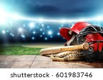 baseball and night time  | Shutterstock . vector #601983746