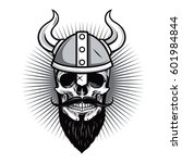 skull of viking warrior vector... | Shutterstock .eps vector #601984844
