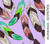 vector hand drown feathers... | Shutterstock .eps vector #601987856