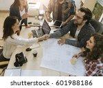 start up team of freelancers in ... | Shutterstock . vector #601988186