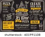 pizza food menu for restaurant... | Shutterstock .eps vector #601991108