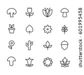 linear nature icons. vector... | Shutterstock .eps vector #601995458