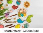 tulips and gingerbread cookies... | Shutterstock . vector #602000630