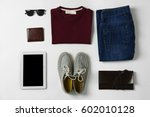 set of clothes and accessories... | Shutterstock . vector #602010128