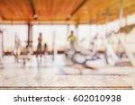 empty top pink marble table in... | Shutterstock . vector #602010938