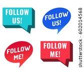 follow us  follow me. speech... | Shutterstock .eps vector #602014568