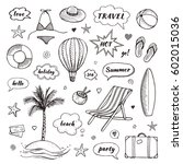 set of hand drawn travel doodle.... | Shutterstock .eps vector #602015036