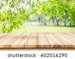 empty wooden table with garden... | Shutterstock . vector #602016290