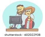 cartoon illustration of boss or ... | Shutterstock .eps vector #602022938