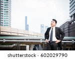 businessman standing in area... | Shutterstock . vector #602029790