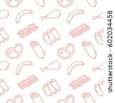meat background seamless vector ... | Shutterstock .eps vector #602034458