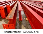 rows of large steel i beams... | Shutterstock . vector #602037578