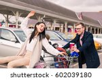 happy family after shopping on...   Shutterstock . vector #602039180