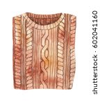 brown sweater. watercolor... | Shutterstock . vector #602041160