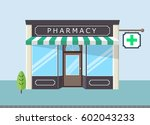 facade of pharmacy store in ... | Shutterstock .eps vector #602043233