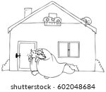 coloring big bad wolf knocking. ... | Shutterstock .eps vector #602048684