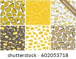 set of six cheese seamless... | Shutterstock .eps vector #602053718