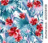 tropical leaves pattern. green... | Shutterstock . vector #602058458