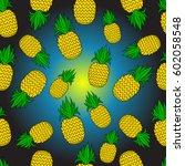 pattern of pineapple.  | Shutterstock .eps vector #602058548