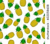 pattern of pineapple.  | Shutterstock .eps vector #602058608