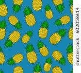 pattern of pineapple.  | Shutterstock .eps vector #602058614