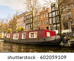 Tipycal Houseboat In Amsterdam  ...