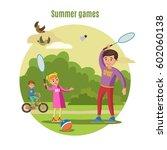 summer active leisure concept... | Shutterstock .eps vector #602060138