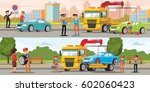 car evacuation horizontal... | Shutterstock .eps vector #602060423