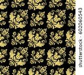 damask classic golden pattern.... | Shutterstock . vector #602060543