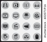 set of 16 editable movie icons. ...