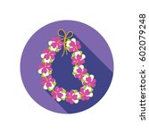 hawaii flowers necklace  wreath ... | Shutterstock .eps vector #602079248