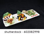 salad flight  a trio of small... | Shutterstock . vector #602082998