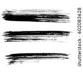 set of ink vector brush strokes.... | Shutterstock .eps vector #602083628