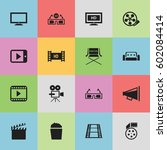 set of 16 editable movie icons. ...