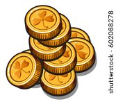a small pile of gold coins with ... | Shutterstock .eps vector #602088278