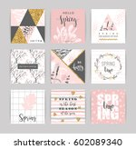 set of artistic creative spring ... | Shutterstock .eps vector #602089340