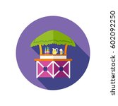 cafe bar bungalows on the beach ... | Shutterstock .eps vector #602092250