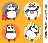 set of cute panda bear... | Shutterstock .eps vector #602096600