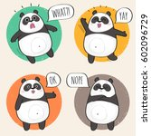 set of cute panda bear stickers ... | Shutterstock .eps vector #602096729