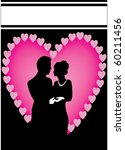 pink heart couple with a black... | Shutterstock .eps vector #60211456