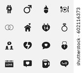 set of 16 editable love icons.... | Shutterstock .eps vector #602116373