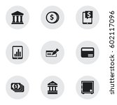 set of 9 editable banking icons.... | Shutterstock .eps vector #602117096