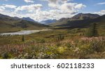 View of Tombstone National Park taken from Dempster Highway, Yukon territory, Canada. Wilderness, wild north, nature. Harsh, inhospitable, arctic climate. Close to Polar circle. Alpine meadows.