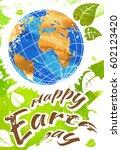 world earth day grunge style ... | Shutterstock .eps vector #602123420