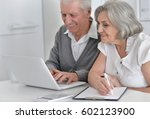 elderly couple with a laptop | Shutterstock . vector #602123900