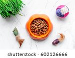 Stock photo dry cat food in bowl on stone background top view 602126666
