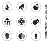 set of 9 editable fruits icons. ... | Shutterstock .eps vector #602132438
