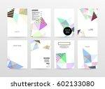 memphis geometric background... | Shutterstock .eps vector #602133080
