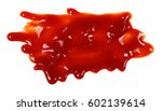 red ketchup splashes isolated... | Shutterstock . vector #602139614