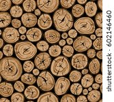 pile of wood. round organic... | Shutterstock .eps vector #602146460